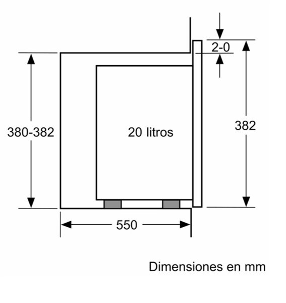 Siemens BE525LMS0 - Microondas Integrable sin Marco 38x60cm Negro