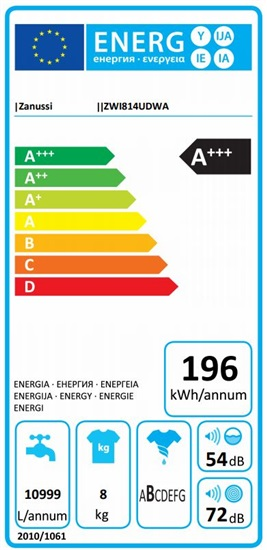 Zanussi ZWI814UDWA - Lavadora integrable de 8kg Clase A+++ 1400rpm Display LCD
