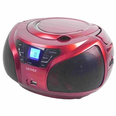 Reproductor Cd Denver TCU206RED Rojo USB Radio Fm